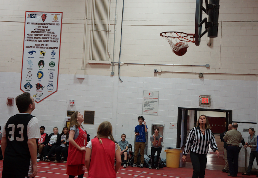 Hinsdale Centrals Special Olympics Basketball Team takes on the Warriors in the Hinsdale Central Fieldhouse on January 18.