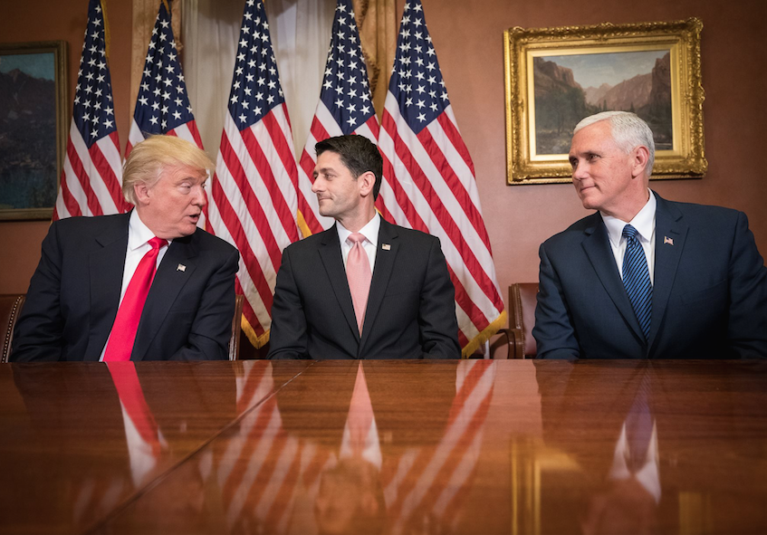 Trump meets with Speaker of the House Paul Ryan and Vice President Mike Pence after his election.