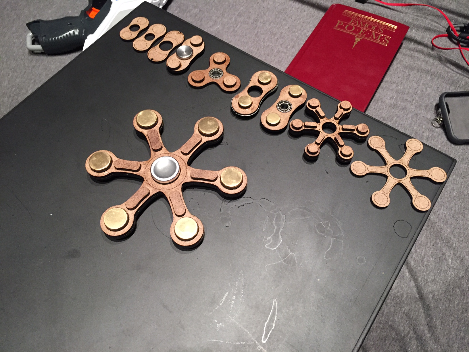 Emmit Flynn, senior, creates his own spinners, a relaxation toy made to help fidgety hands.