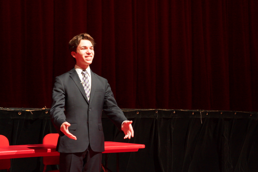 Members of the Hinsdale Central Forensics team showcase their talent to the students on February 10 before their Sectional Competition on February 11.