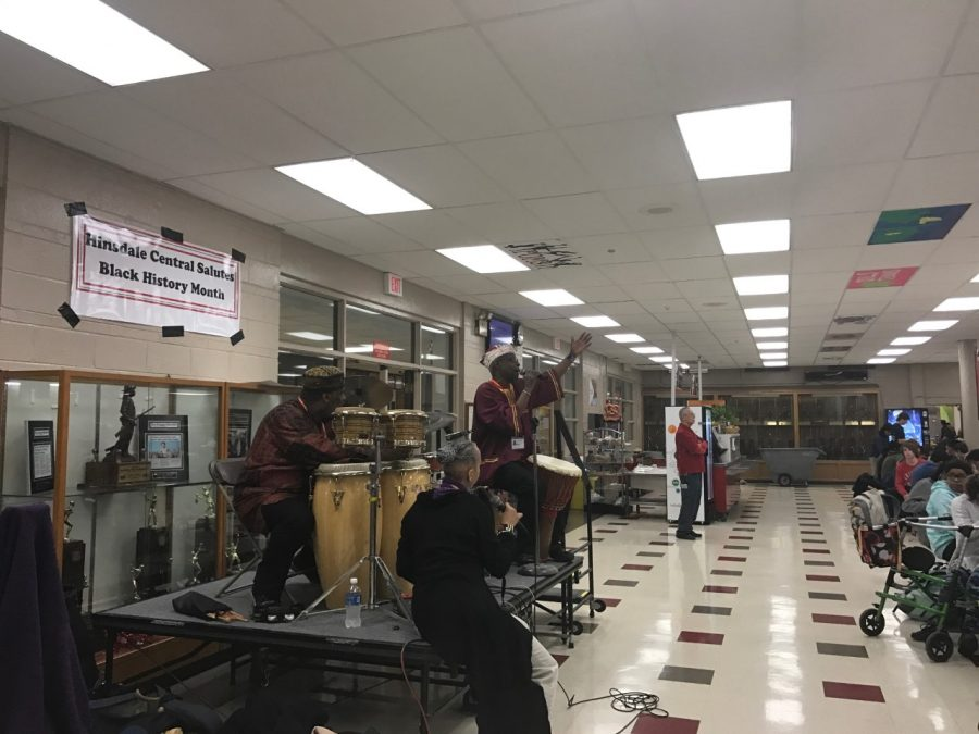Students+welcomed+an+African+American+drumming+troupe+to+perform+during+the+lunch+periods+on+Feb.+7+as+part+of+the+Black+History+Month+celebrations.+