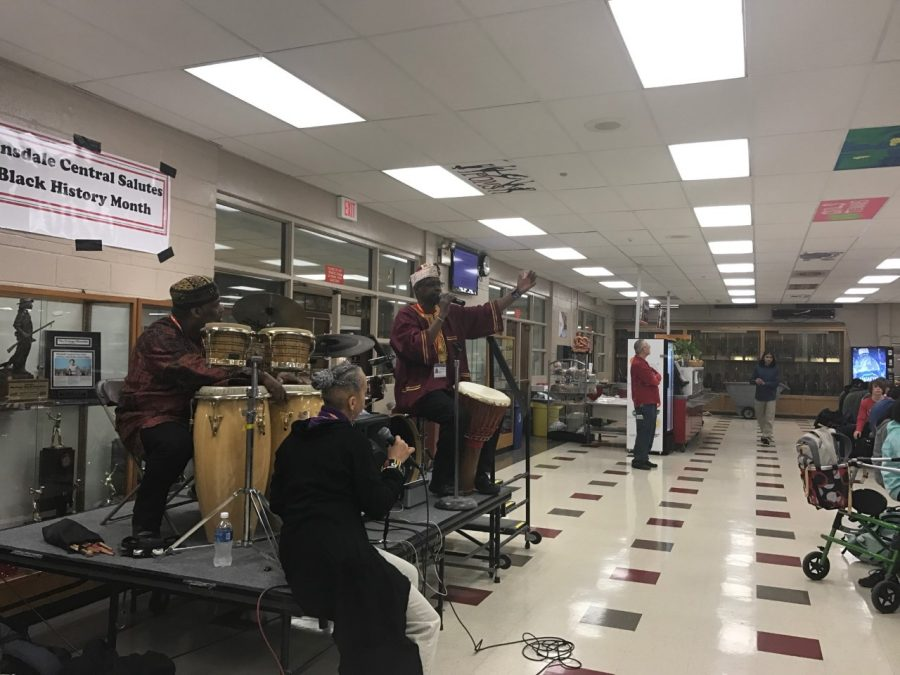 Hinsdale Central welcome African American drumming troupe to perform during the lunch periods on February 7.