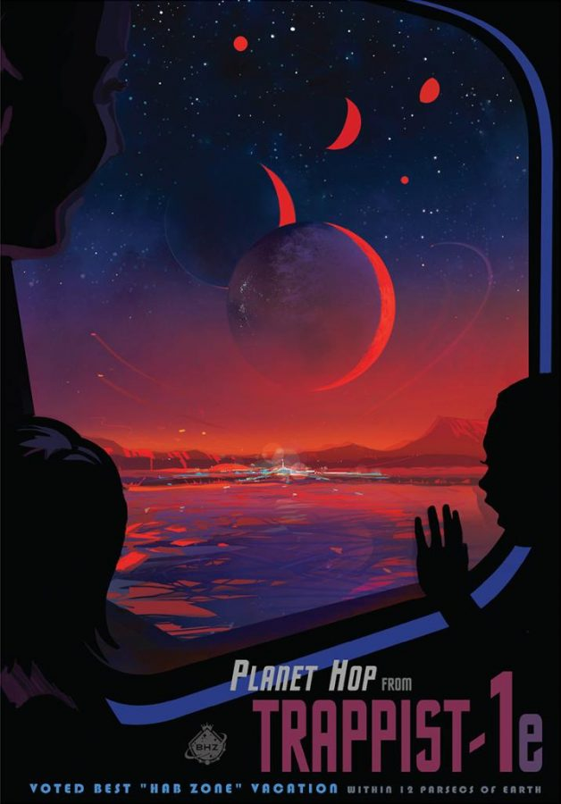 An artist felt inspired by the possibility of life surviving on TRAPPIST-1 planets and decided to create a promotional travel poster.