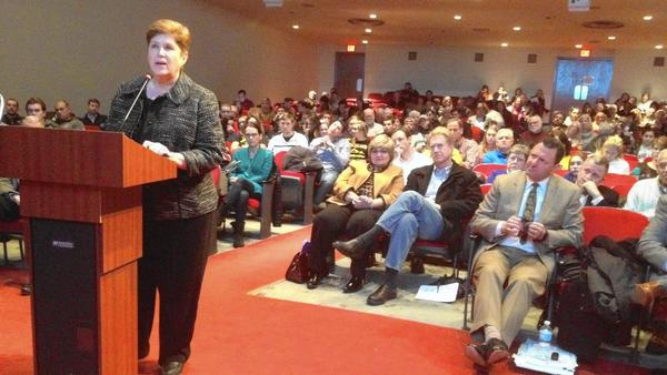 Hinsdale District 86 presents a $76 million referendum at a board meeting held at Central.