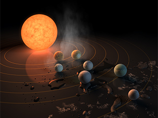 Since the systems discovery, many artists have created possible visual representations. This illustration was created by visualization scientist Robert Hurst, a longtime collaborator with NASA.