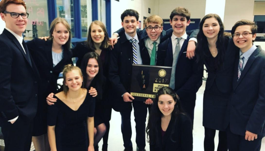 The Performance in Round group celebrates after moving on from sectionals to the state competition, which took place on Feb. 17 and 18.