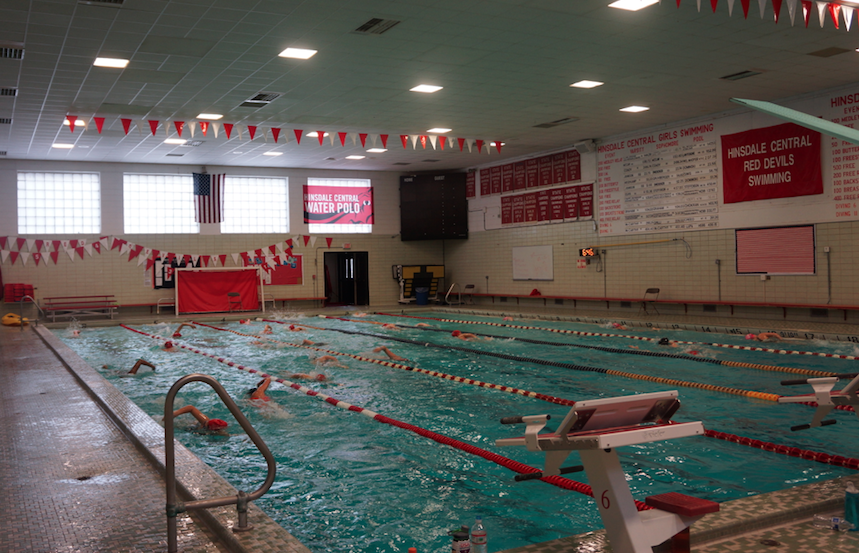 Hinsdale Central Water Polo prepares to face off against Hinsdale South.