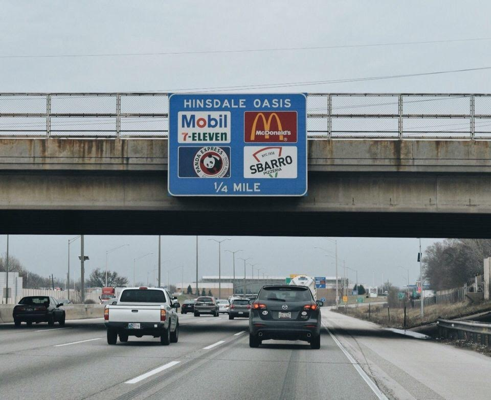 The Hinsdale Oasis is located at 5800 Tri State Toll Road, Hinsdale and is open 24 hours.