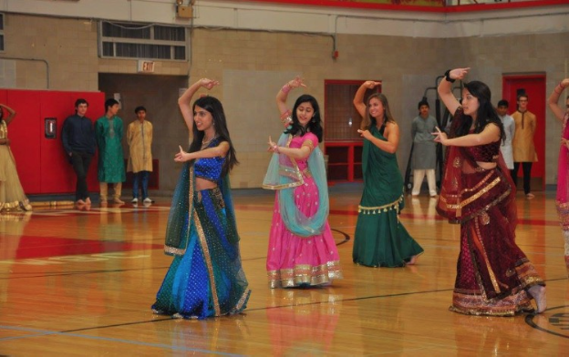 Senior Anisha Advani (left) was one of the leaders of the Bollywood dance.