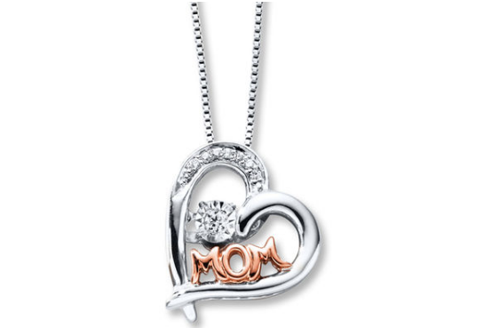 This classy necklace steps up the game with a revolving diamond in the center and a touch of rose gold.
