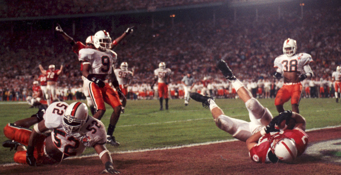 Davis played for the Nebraska Huskers when they won the 1994 National Championship, but soon his personal life interfered with his athletic career.