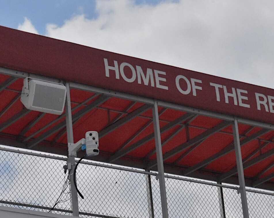 The school invested in new, state-of-the-art cameras to record games and practices, as pictured on Dickinson Fields scorebox. These recordings will help teams to better assess their performances and allow fans to receive better broadcasts.