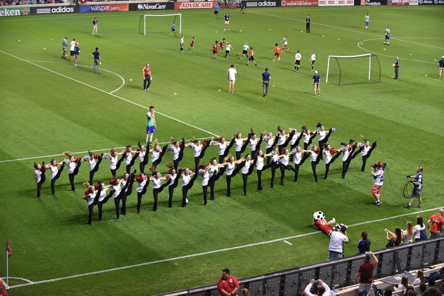 The poms team performing at half time of Chicago Fire game on Saturday, Aug. 19.