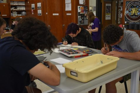 Art students in Mr. Haase's art classes are hard at work drawing self portraits.