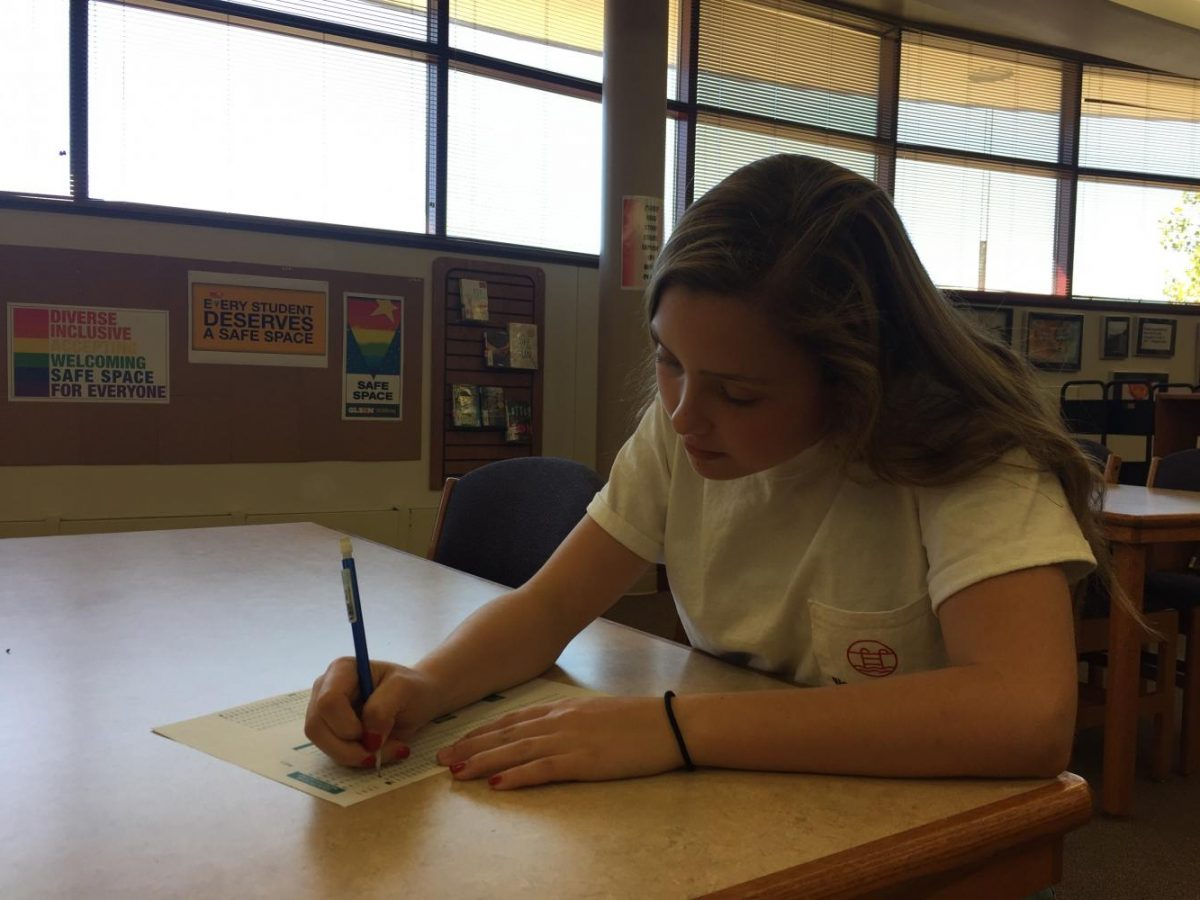 Leah+Stevens%2C+junior%2C+prepares+for+the+PSAT+test+coming+up+on+Wednesday%2C+Oct.+11.+