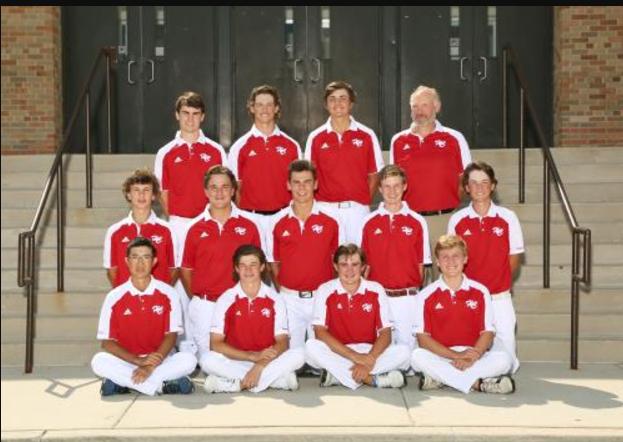 The boys varsity golf team poses for their annual photo.