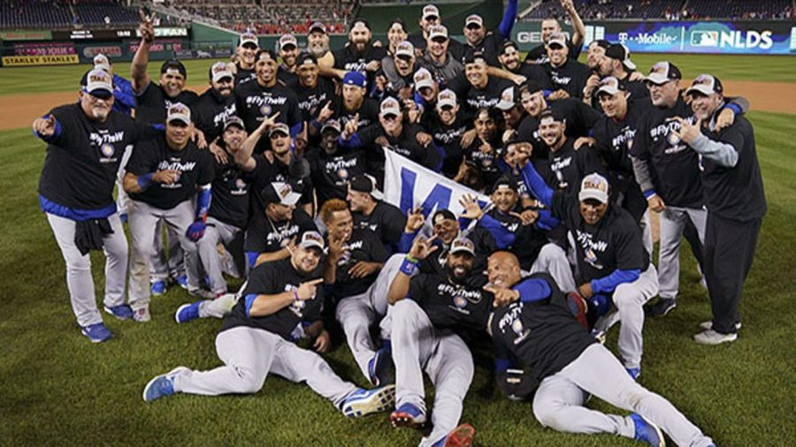 Chicago+Cubs+players+celebrate+after+defeating+the+Nationals+in+the+2017+NLDS.