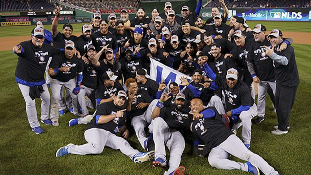 Chicago Cubs players celebrate after defeating the Nationals in the 2017 NLDS.