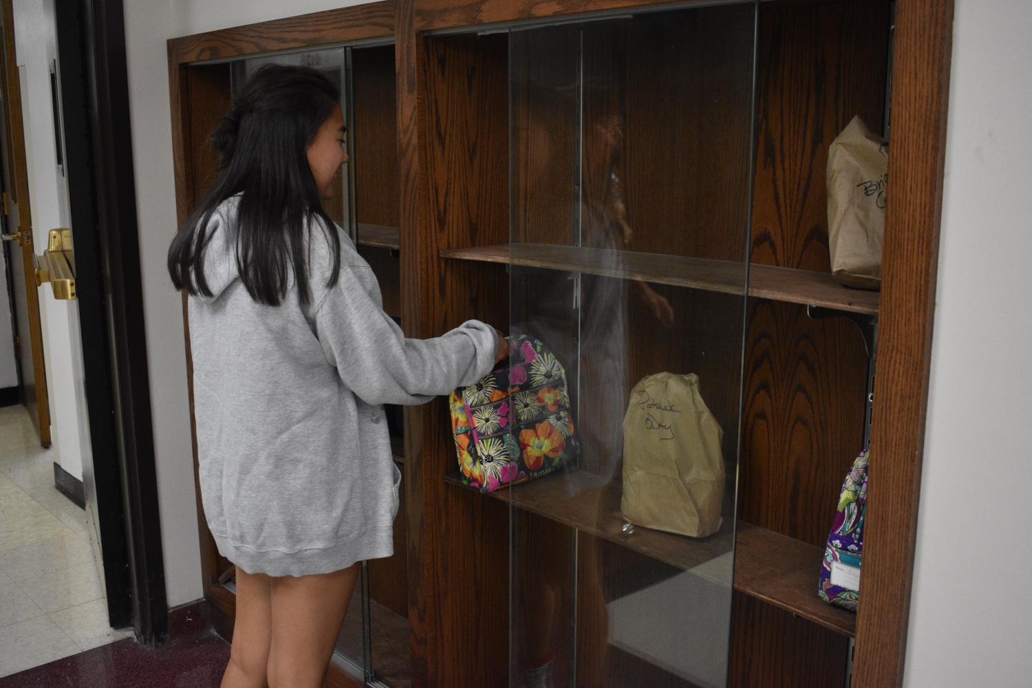 Now when parents drop off lunches, they go on the shelf outside the bookstore,  so kids can pick their lunches up during lunch periods.