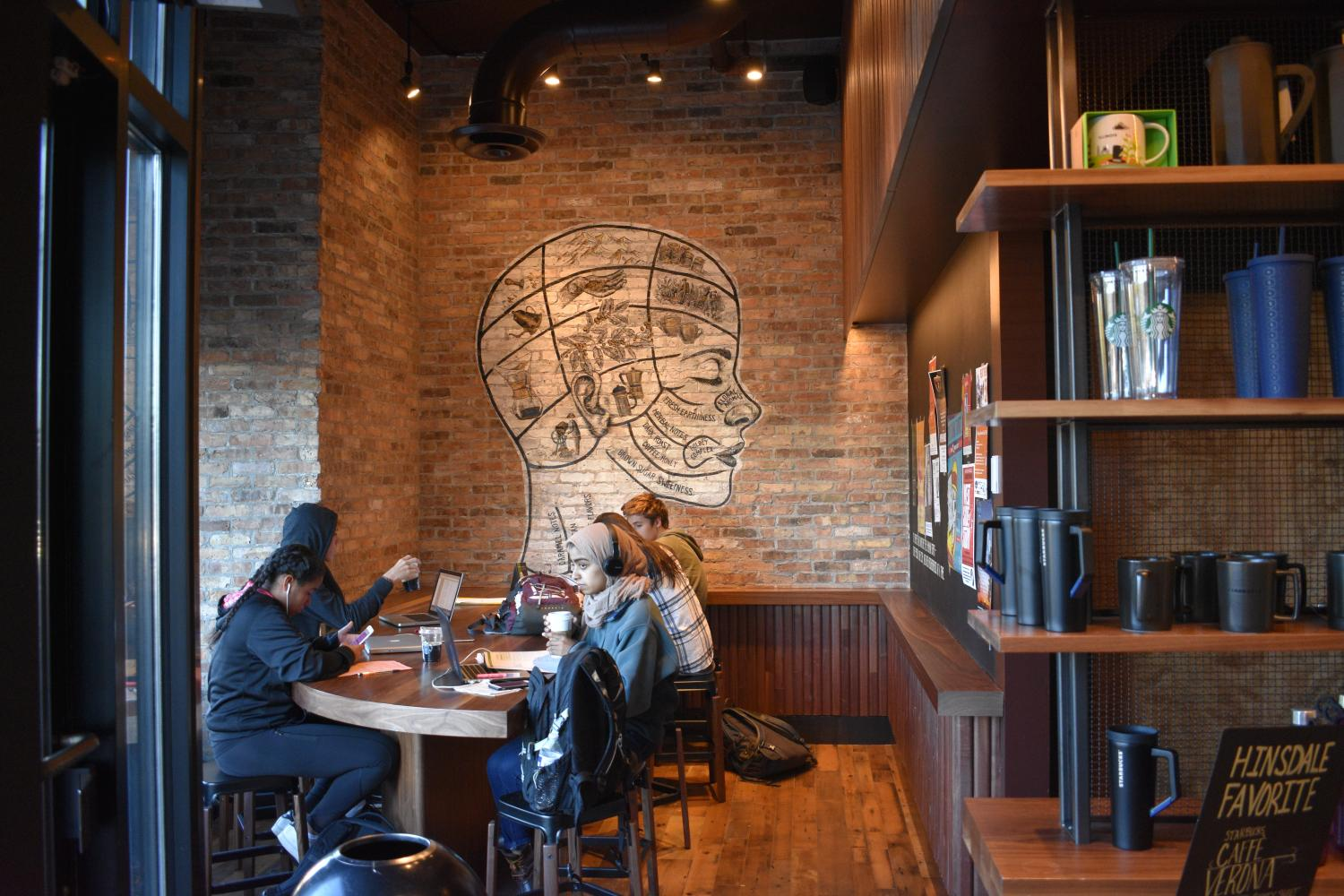 The renovation gives the new Starbuck's a calm and trendy atmosphere that is perfect for after school study sessions.