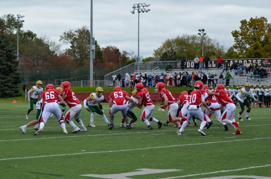The+varsity+football+team+kicked+off+their+first+IHSA+State+Playoff+game+of+the+season+at+home.+They+beat+Stevenson+High+School+and+won+with+a+final+score+of+33-21.+