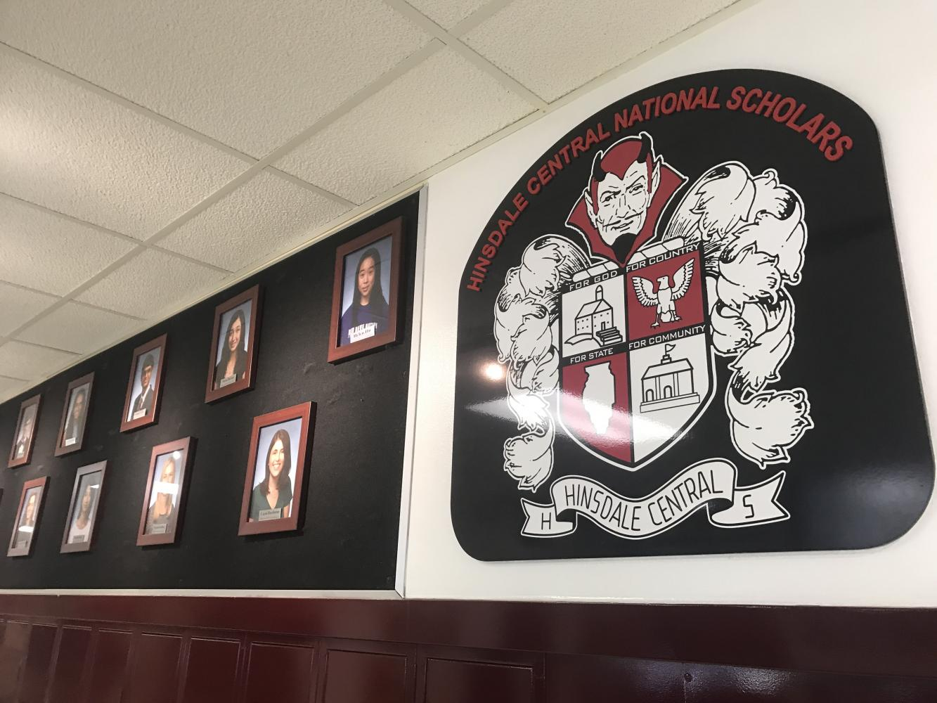The National Merit semifinalists are displayed on the wall outside the main office. Currently the wall still shows the semifinalists from the class of 2017, but the class of 2018 will be added soon.