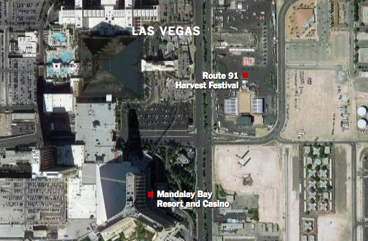This map outlines the location of the shooter and the festival along the Las Vegas Strip.