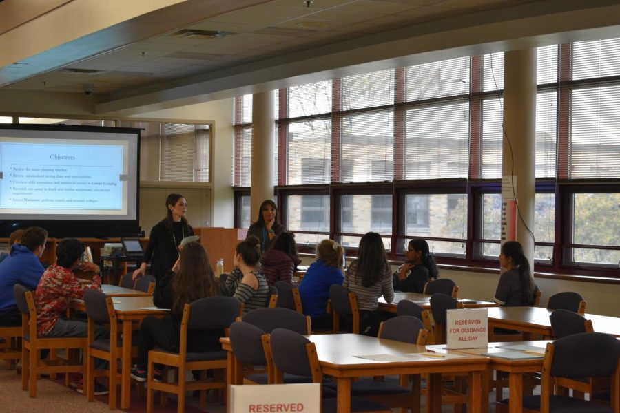 Mrs. Hilding and Mrs. Maniscalco, guidance counselors, talk to the students about college, career planning, and the different resources that are available to help them.