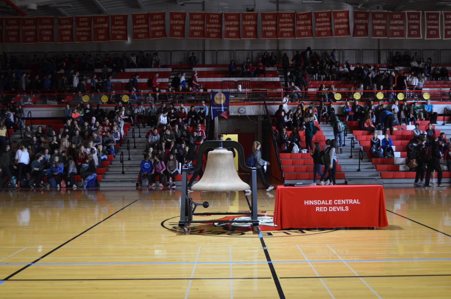 The school's new victory bell was fully on display for the Fall Recognition Ceremony in the gym, but it will later be moved to its own platform outside.