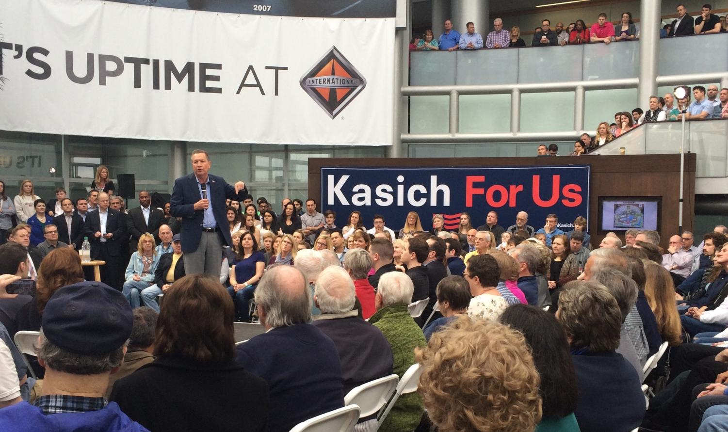 Mr. Wilbur frequently encourages his students to examine politics outside the classroom, such as attending political rallies. On Wednesday, March 9, 2016, Ohio Governor John Kasich spoke in Lisle, Ill. about his campaign for the presidency.