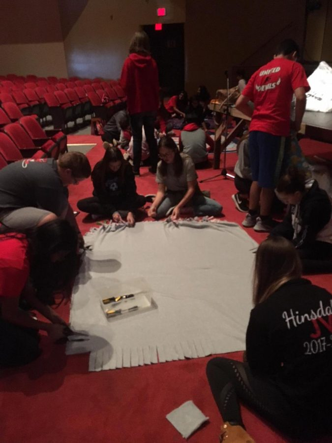 Key Club members often make no-sew blankets for different charities around the community.
