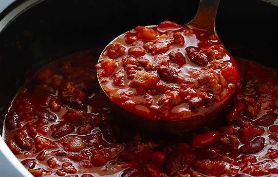 Chili is underestimated as a soup. It's tasty, as well as healthy since it's filled with protein and vegetables.