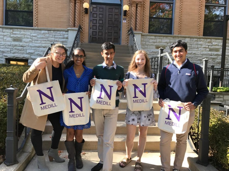 Devils' Advocate staff members enjoy their time at the Northwestern University High School Day of Journalism.