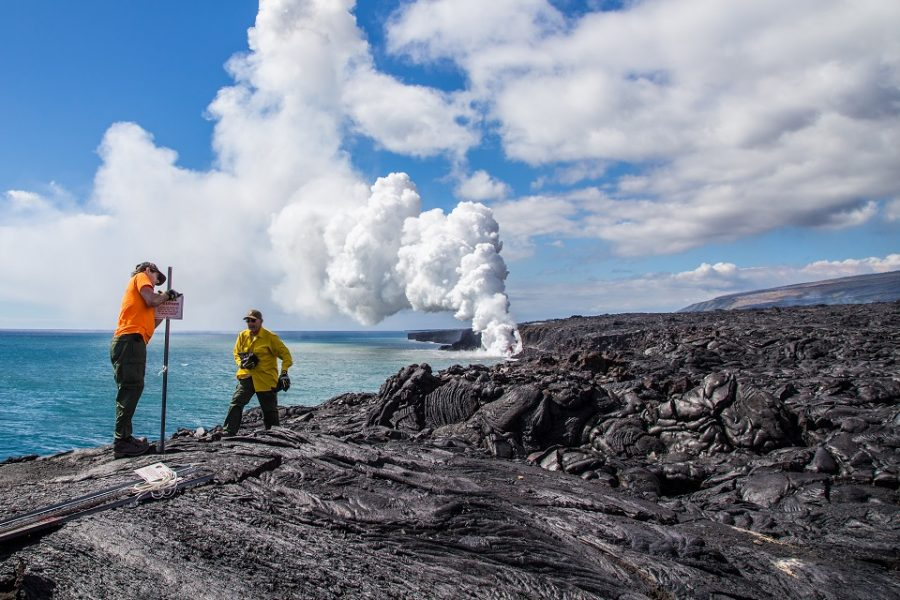 Hawaii Volcanoes National Park has special coastal lava viewing areas for visitors to explore.