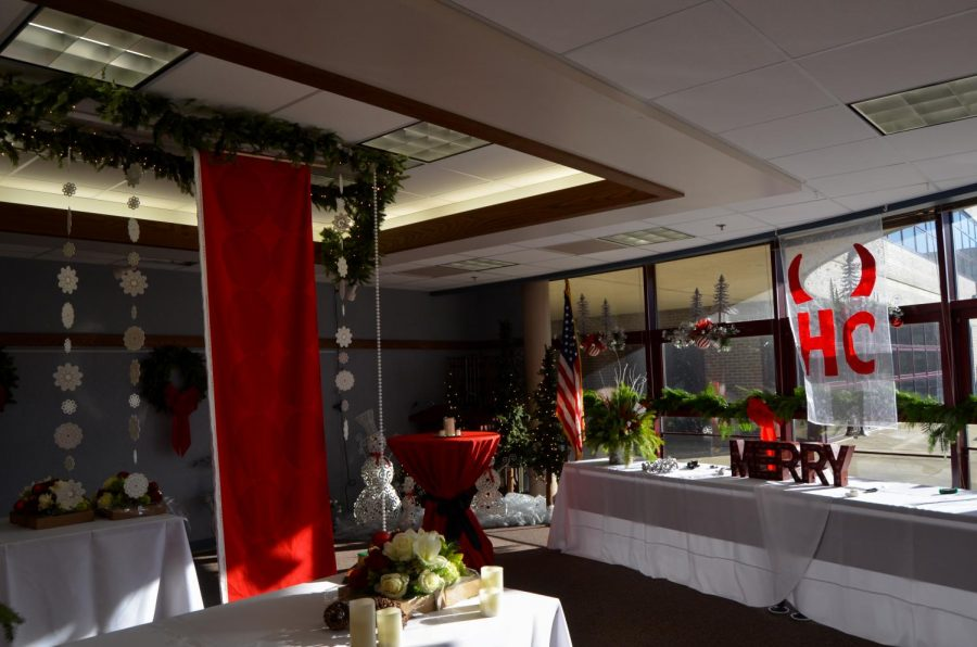 The Community Room was fully decorated with ornaments and wreaths, which are associated with Christmas. Throughout the school signs of that holiday can often be found, while other religious celebrations are generally neglected.