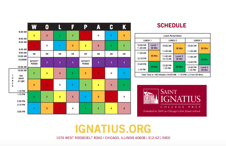 Saint Ignatius, a private school in downtown Chicago, is known for its WOLFPACK block scheduling. Although their classes are the same length as Centrals, rotating the classes allows students more time to prepare for different subjects.