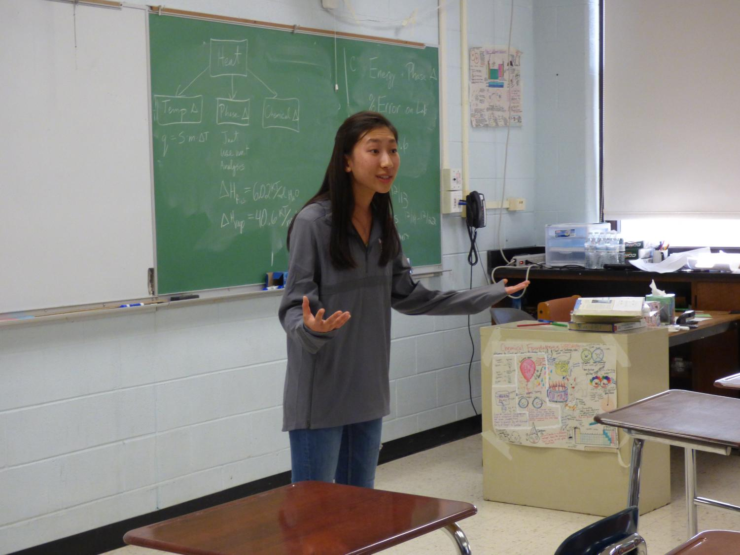 Sophomore Addie Li practices her speeches in front of her coaches so that they can give her suggestions on how to make her speech better.