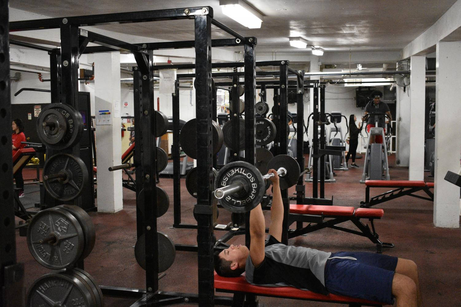 The fitness center in the basement and the Bouchard Center in the field house are open to students, so they can lift weights and work out during their off-season.