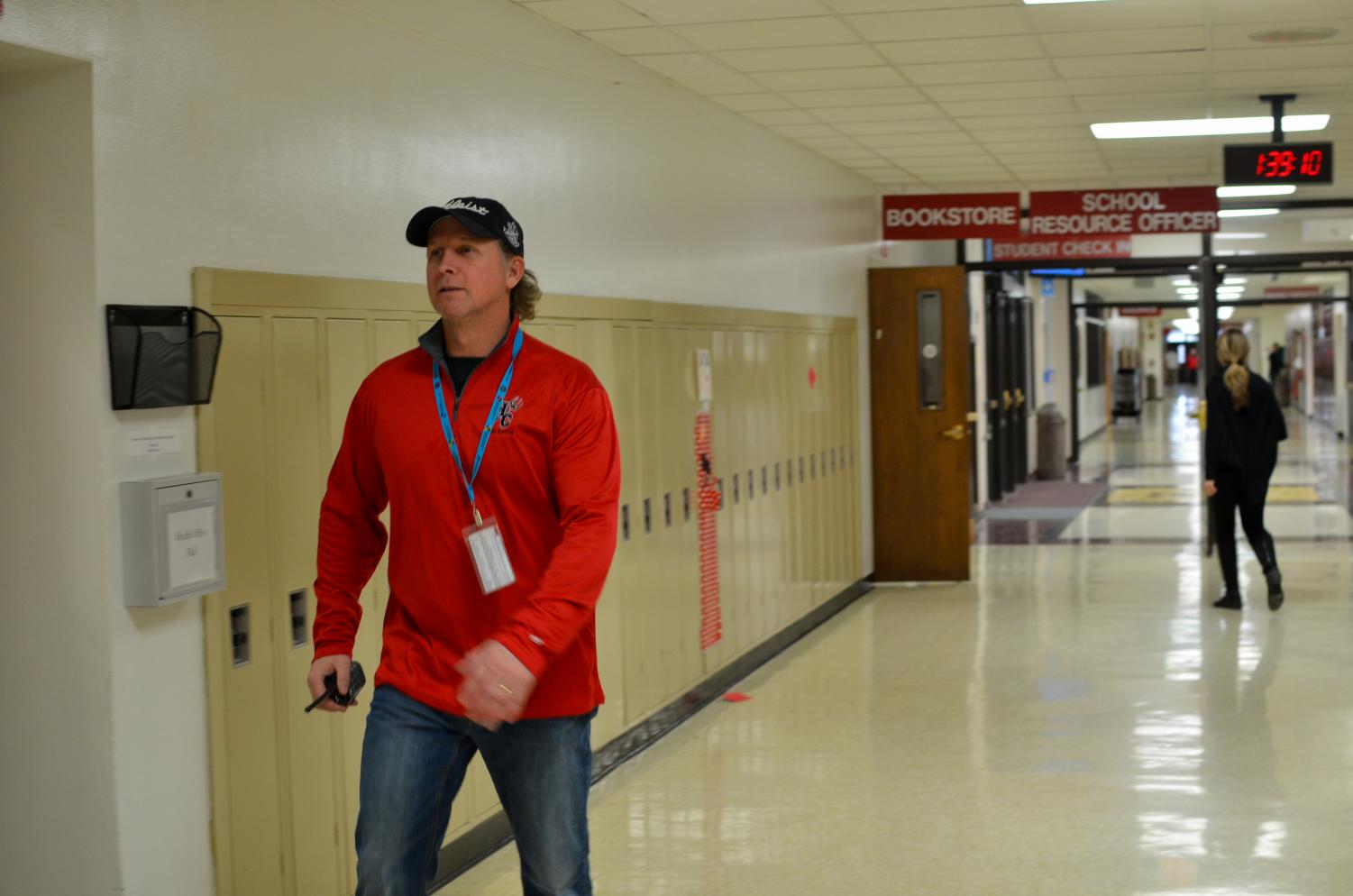 Hall monitors such as Mr. Simpson carry walkie-talkies around at all times in case of a school crisis.