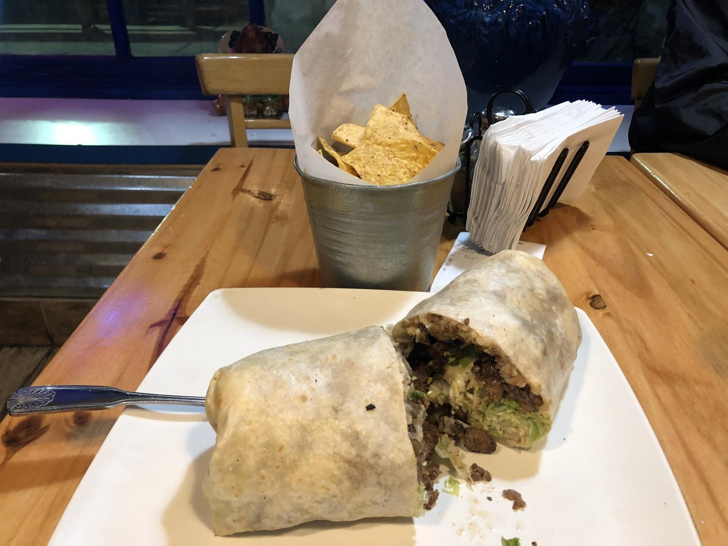 The grade steak burrito from Taco Grill & Salsa Bar always hits the spot and fills late-night cravings.