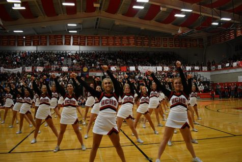 The assembly ended with a routine performed by the varsity cheerleaders.