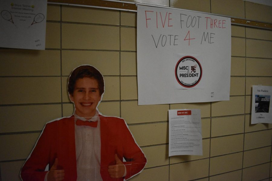 There was a variety of posters throughout the school. Many candidates used something funny, like popular memes, on their posters to try and gain votes. Miscimarra chose to make a cardboard cutout of himself as well.