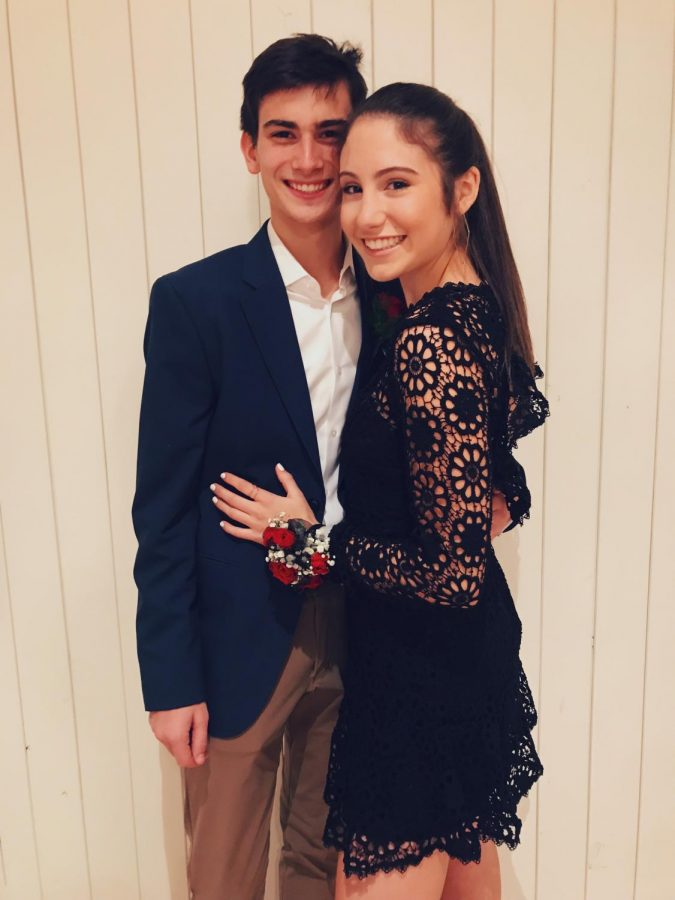McKenna Hayes, junior, perfectly exemplifies turnabout style next to Ethan Valeo, junior.