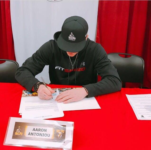 Aaron Antoniou, senior, signs to play football at Valparaiso University.