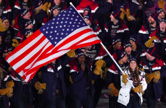 The 2018 U.S. Olympic Team at the opening ceremony in Pyeongchang, South Korea.