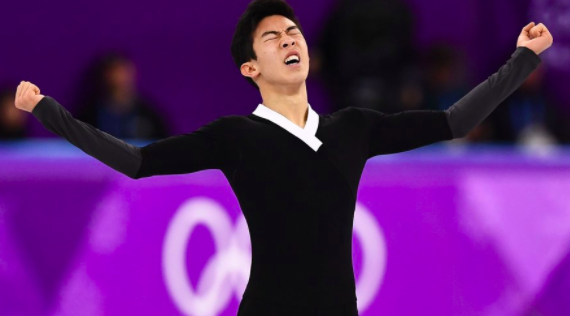 Nathan Chen competing in the 2018 Olympics.