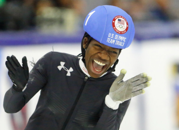 Maame Biney smiles after success at the U.S Olympic Trials for speedskating.