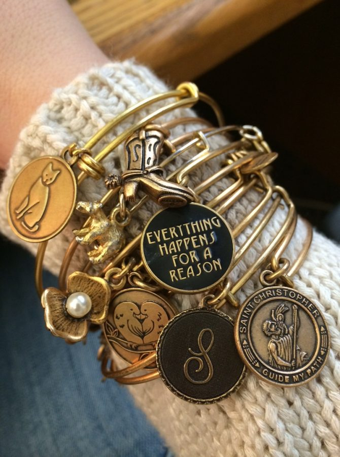 It is a popular style to stack Alex and Ani bracelets.