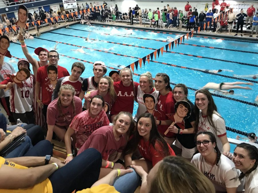 Red Devil Nation came out to Evanston High School to support the Boys Swim and Dive team.