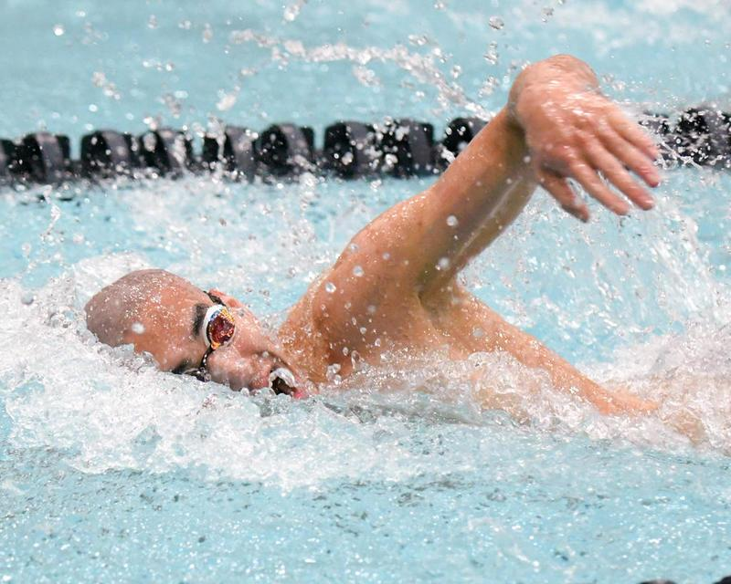 Donovan Lahmann, junior, swam the 200-yard freestyle on Saturday, Feb. 24.